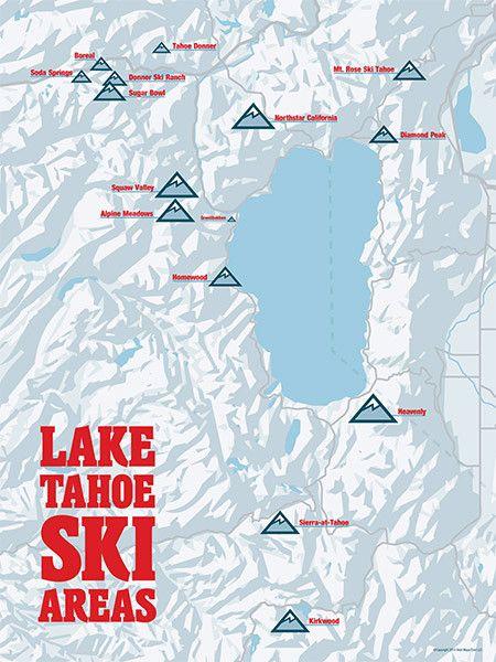 Lake Tahoe Ski Resorts Map 18x24 Poster