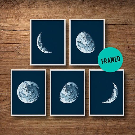 This gorgeous print set of 5 moon phases adds a beautiful elegance to any room. Each moon is different, showing the waxing and waning of the moon. The prints are adapted from a 100-year-old astronomy textbook. Ive also antiqued the backgrounds with a delicate patina to give them a more