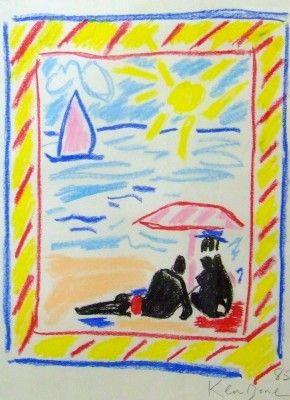 Beach Party 1985 by Ken Done. Crayon Image (Australia)