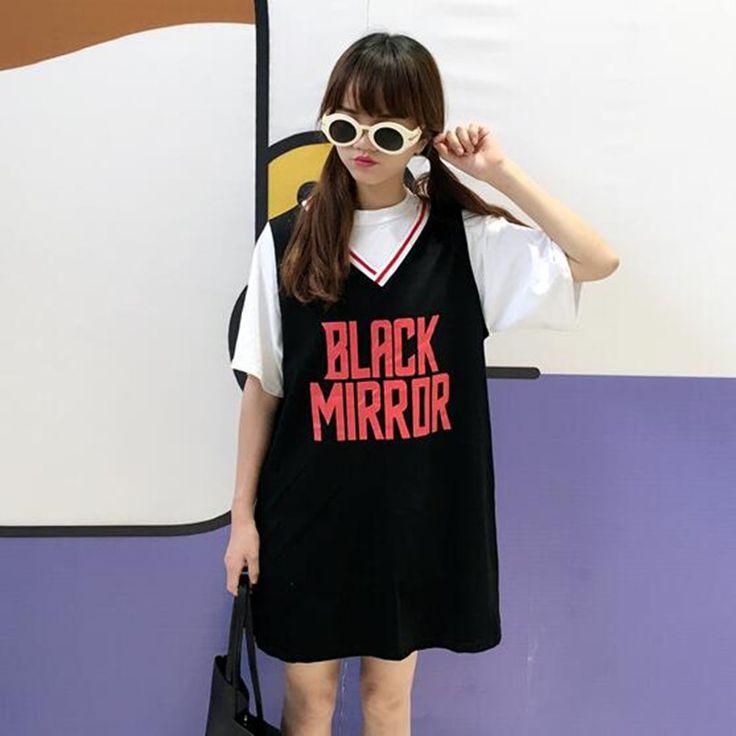 韓国ファッション原宿系ロゴプリントTシャツ