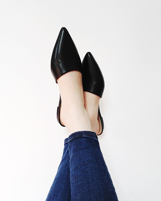 Sometimes, your best shoe option is a simple black slip-on.