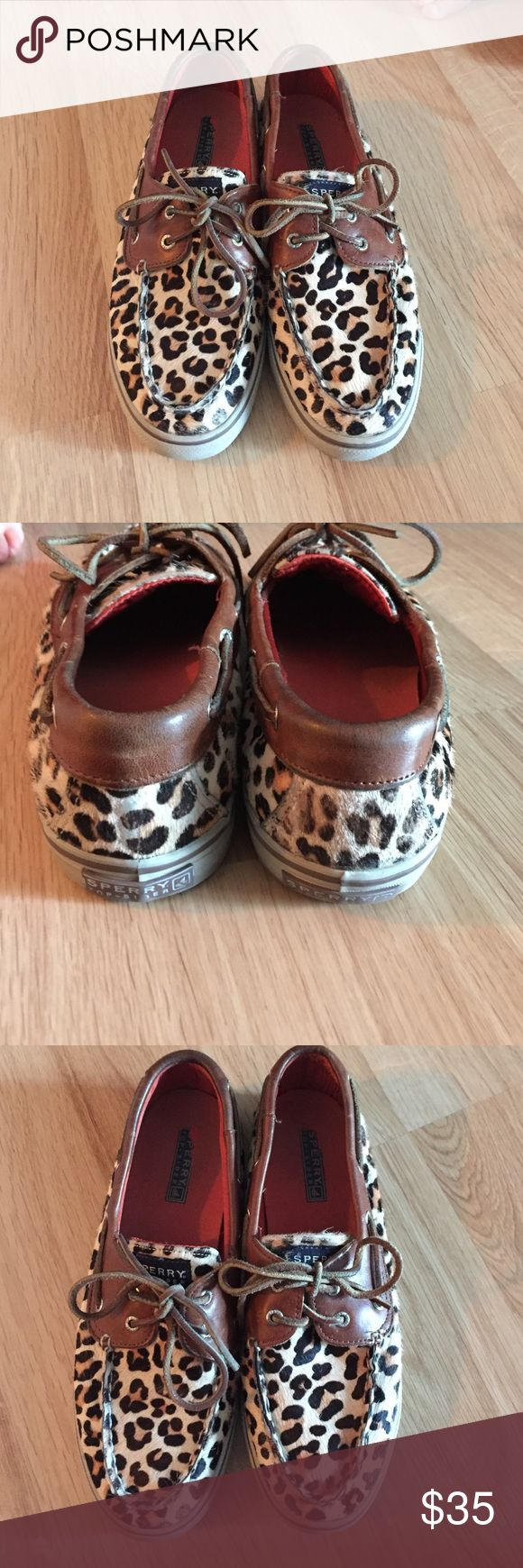 Sperry top sider leopard print shoes women's 9 One day sale!!!! Preowned Sperry top siders in leopard print size 9. See pics for condition. Price is firm. Sperry Top-Sider Shoes Flats & Loafers