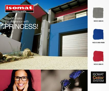 Highlight the unique aesthetics and architecture of your building with PRINCESS color triplet by ISOMAT.  Emphasize the details and personalize the surfaces of your residence, combining the flower blue with the shades of rose, while balancing the intense contrasts with grey hues.