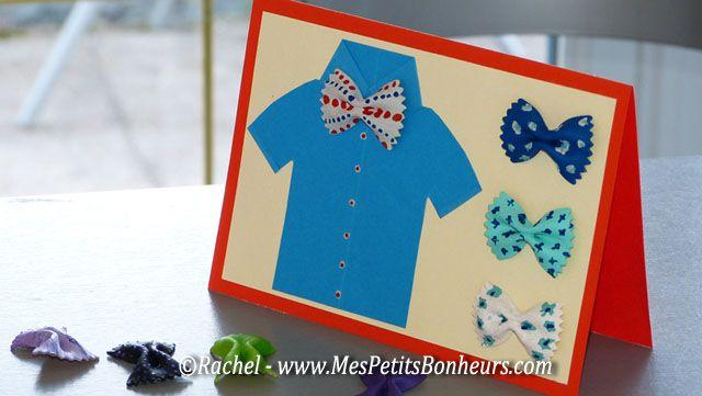Carte-fete-des-pères-bricolage-enfant http://www.mespetitsbonheurs.com/carte-fete-des-peres-a-fabriquer-chemise-et-noeuds-papillon/