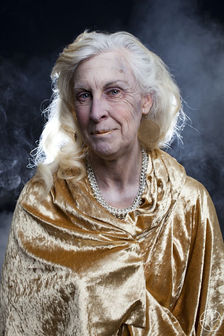 Aging; latex (duo around the eyes), underpaint work and character makeup. Hair set in hot rollers to create a soft fall.