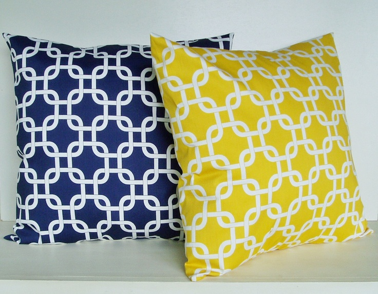 Kohls Nautical Throw Pillows : Nautical Pillow Covers Decorative Pillows Yellow Pillow Navy Pillow 8 Size choices Nautical ...