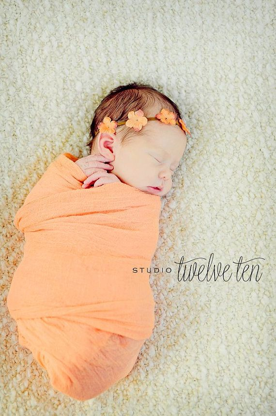 Tangerine Cheesecloth Wrap Newborn Photography by BabyBlissProps, $8.00
