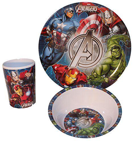 Marvel Avengers Kinderservice mit Teller, Müslischüssel und Trinkbecher aus Melamin - http://geschirrkaufen.online/marvel-4/marvel-avengers-kinderservice-mit-teller-und-aus