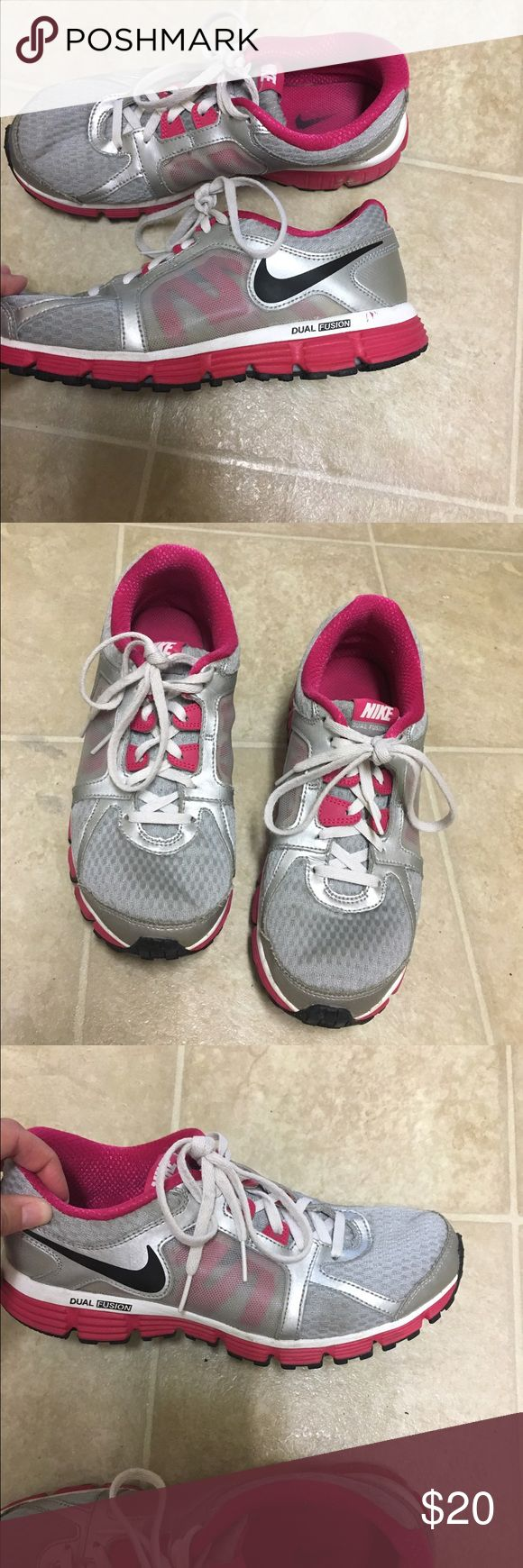 Nike shoes size 6 Nike shoes size 6 . Used but still have life left . They are gray pink and black . Nike Shoes Athletic Shoes