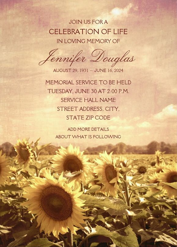 Country Sunflower Field Memorial Service Invitations – Vintage rustic style memorial service or funeral invitations that you can order online. Featuring a beautiful sunflower field with yellow sunflowers. A beautiful typography that is easily customized for celebration the life and in loving memory of your loved one. You can change the text and it's color to your favorite. Order one invitation sample first to see if it's right for your memorial service. More at http://superdazzle.com