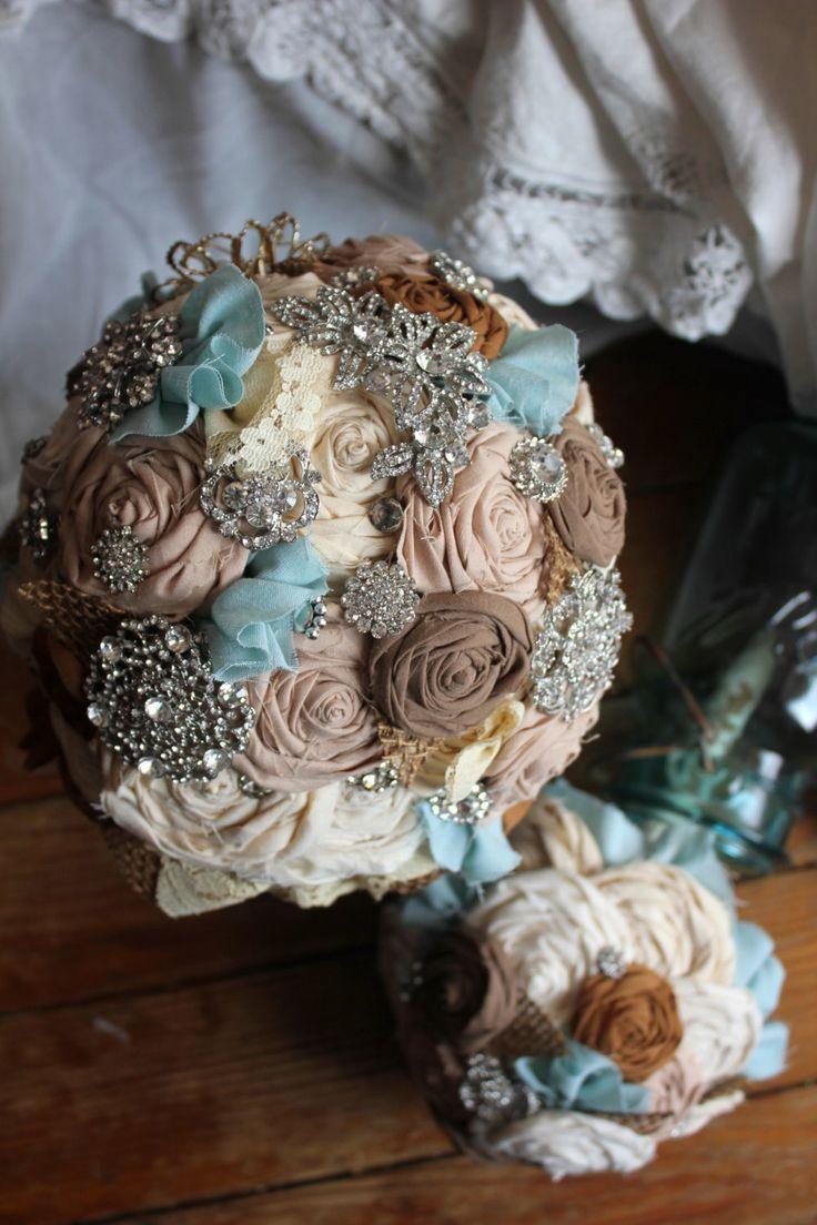 Country Rustic Rhinestone Bouquets Lace Burlap & Rhinestone