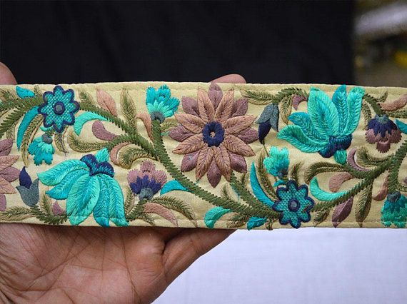 Turquoise Sari Border Trim By The Yard Sewing Indian Fabric Trim Crafting Decorative Embroidered Saree Trim Costume Trimmings Fashion Tape Fashion Tape Indian Fabric Turquoise