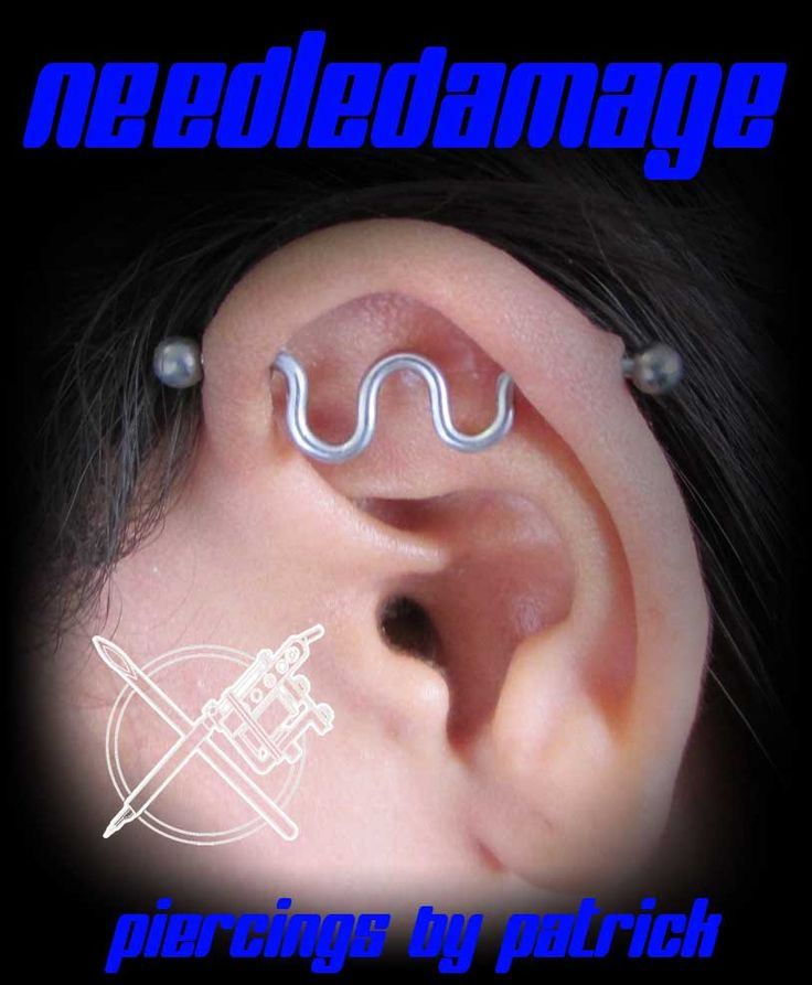 healed industrial piercing with custom bent bar