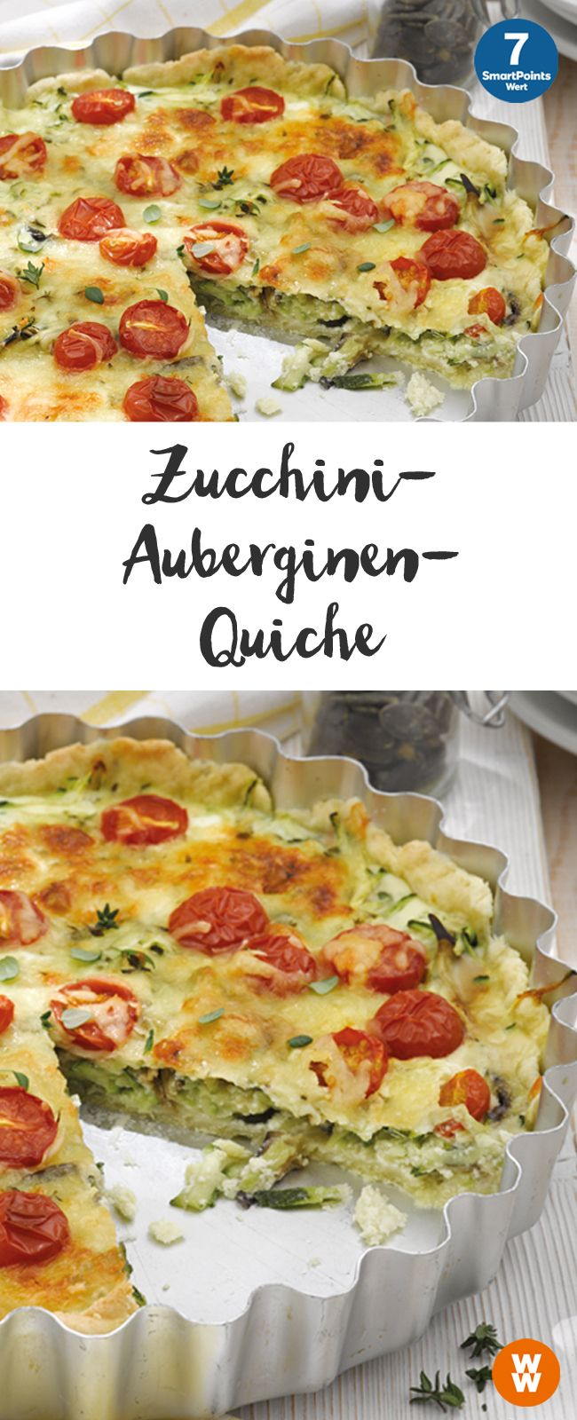 Zucchini-Auberginen-Quiche | 12 Portionen, 5 SmartPoints/Portion, Weight Watchers, fertig in 85 min.
