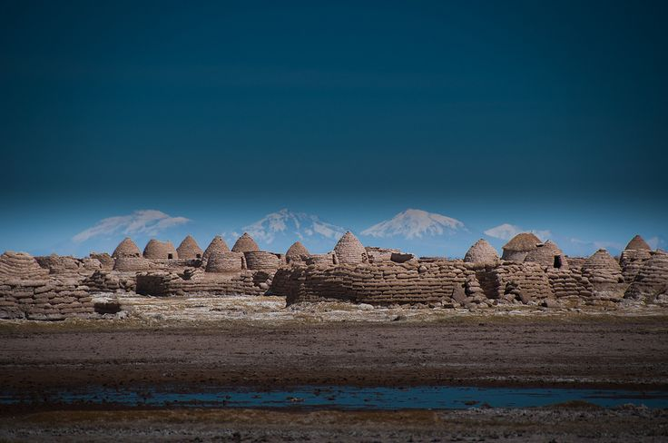 Traditional Chipaya village house, a small town in Bolivia. Technique: Cut Earth Sod