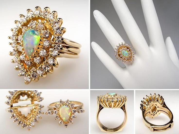 Vintage Opal Engagement Ring Bridal Set 14K Gold EraGem Jewelry