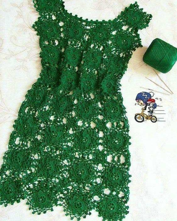 d7104467cd55 Vestido De Crochê Adulto, Saia De Croche, Moda Croche, Roupas De Crochê,