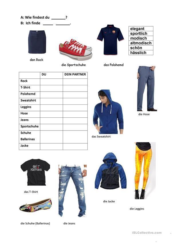 132 besten Kleidung, im Geschäft - DaF Arbeitsblätter und Spiele ...