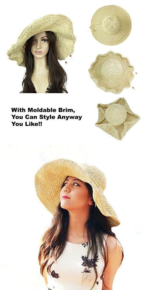 8e08241947c18 Helena Fashion Straw Derby Cap Womens Flax Bow Wide Large Brim Summer Beach  Sun Hat (Crochet Beige)