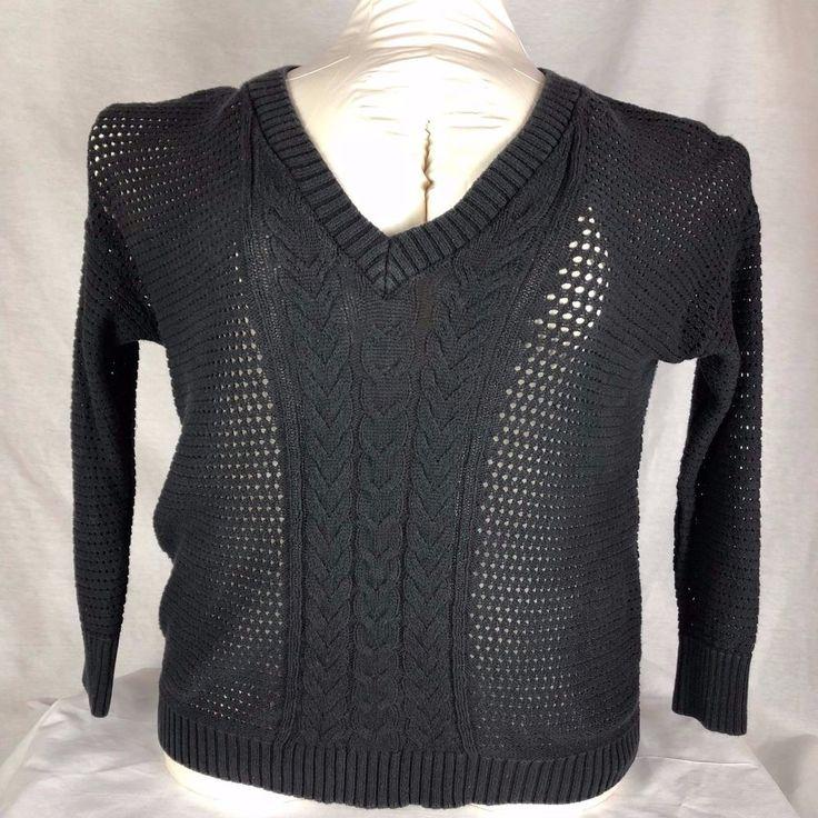 Lane Bryant Sweater Womens 18/20 Black Cable knit Open Weave Long sleeve V-neck #LaneBryant #VNeck Listed 11.25.17