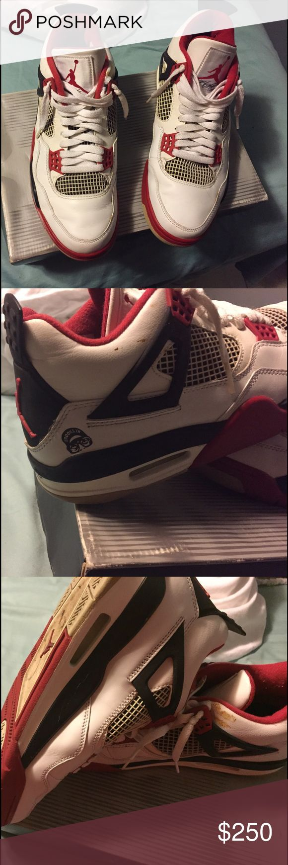 Jordan 4 son of mars spike lee Brooklyn addition 2 stains one larger 1 seen in pic on one sneaker and a smaller on the other sneaker both stains do come off. If not for the 2 stains sneakers are in great condition. Bought these in 2001 -2004 Shoes Sneakers