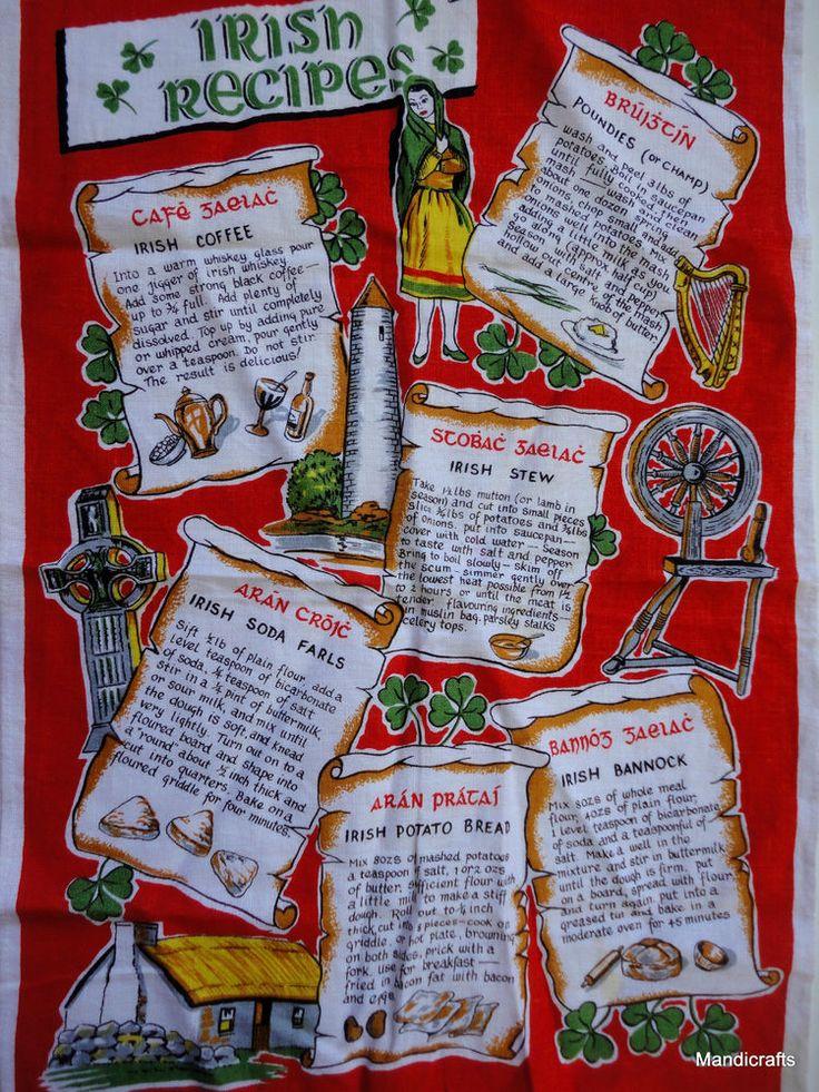 Tea Dish Towel Irish Recipes Linen 20x30 Stew Coffee Bannock Bread Unused Vtg   eBay