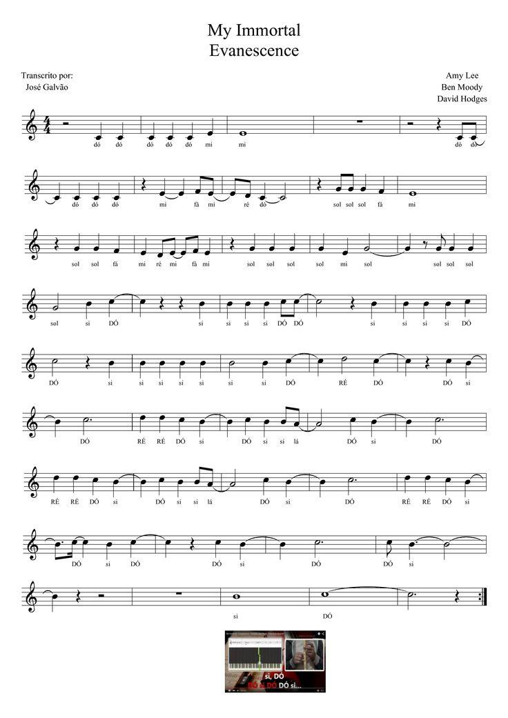 My Immortal - Evanescence - Pauta sem legenda