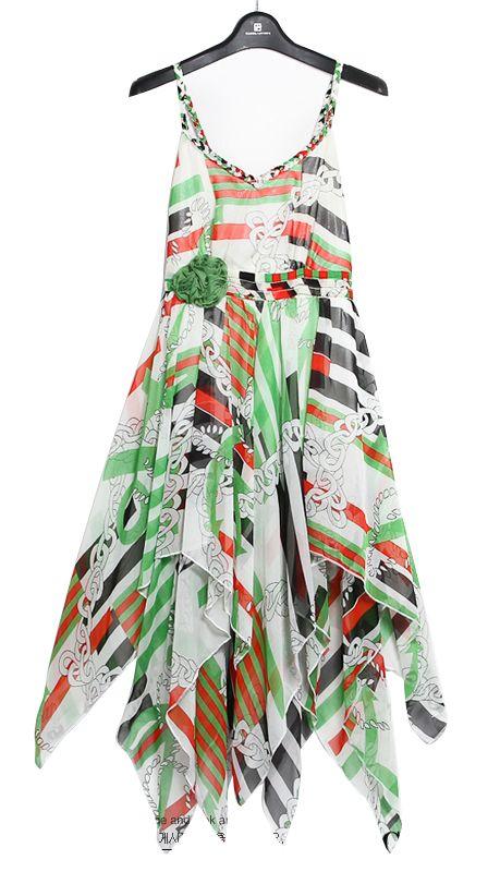 Vestido tirantes seda asimétrico-Verde 0.00