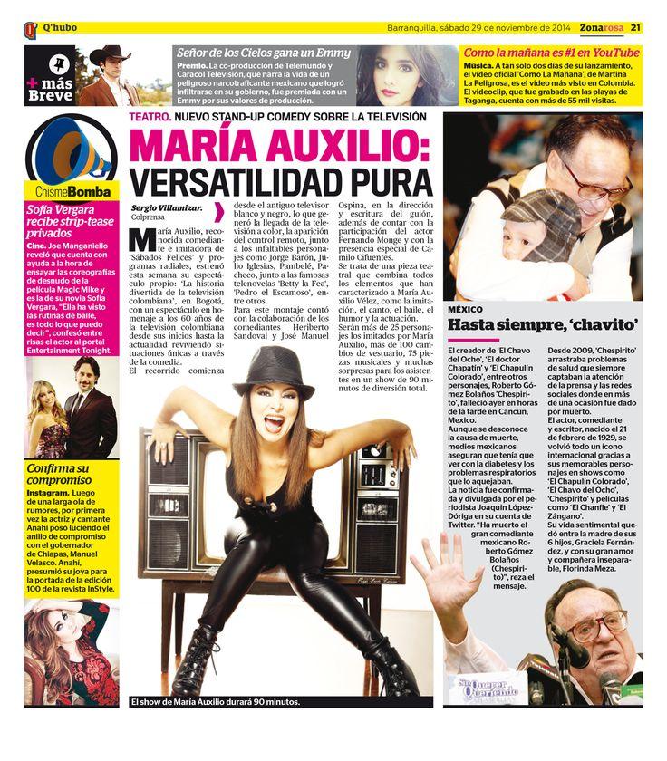 María Auxilio: versatilidad pura. Textos: Sergio Villamizar. Empresa: Q'hubo Barranquilla.