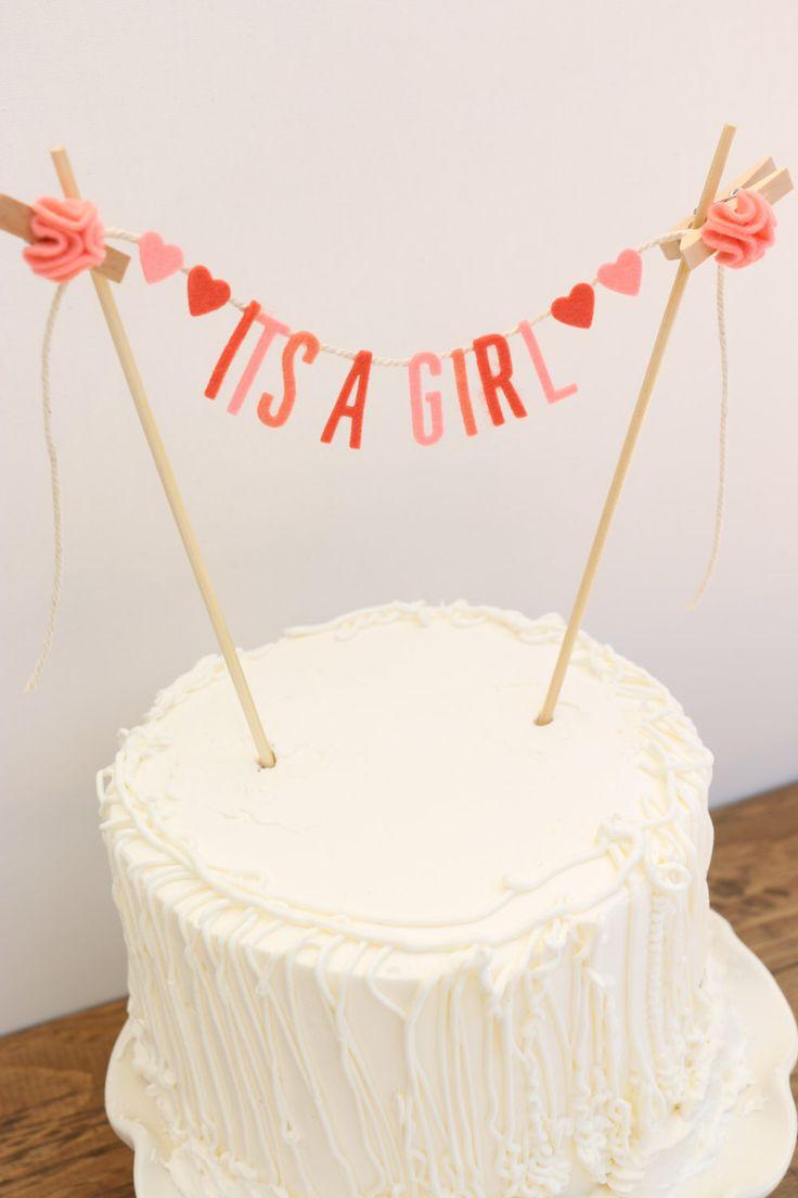 Baby Shower Cake Banner, Baby Shower Cake Garland, It'sa Girl Banner, Baby Shower Banner:  Pink by pipsqueakandbean on Etsy https://www.etsy.com/listing/181565799/baby-shower-cake-banner-baby-shower-cake