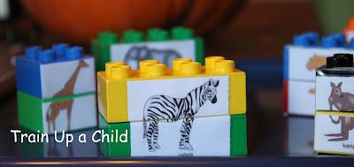 Tape animals onto legos or blocks for a matching activity....letters instead of animals