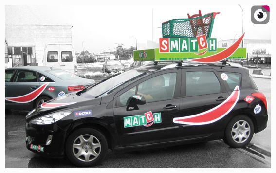 MATCH - TRW Habillage des véhicules , et fixe au toit pour le Tour De Wallonie aux couleurs de la société MATCH-SMATCH.