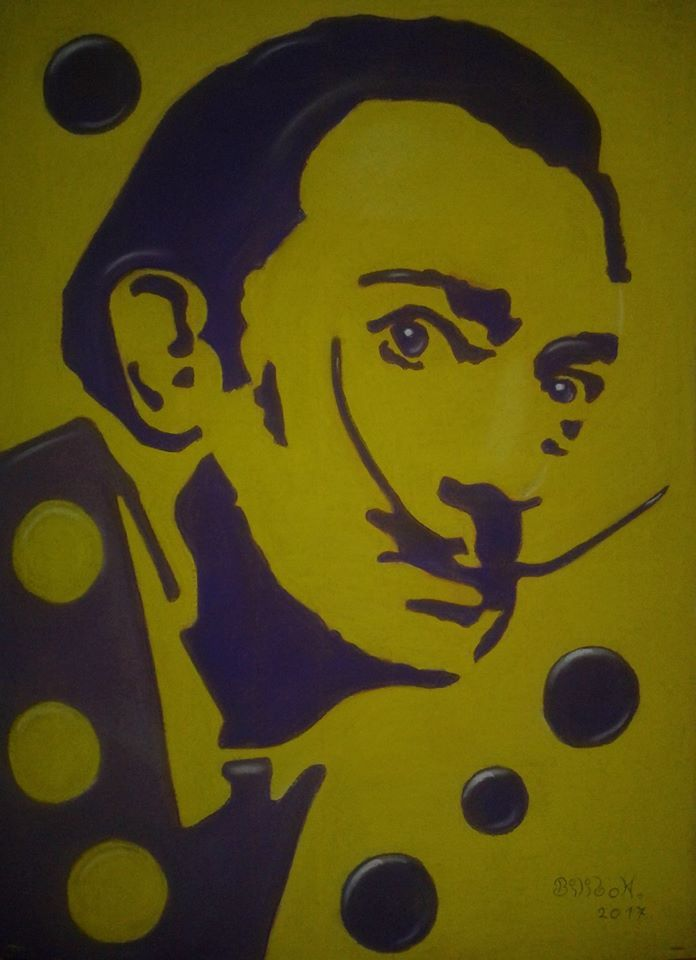 '' Dali and the circuit 7 '' 50x70 cardboard, pastels.