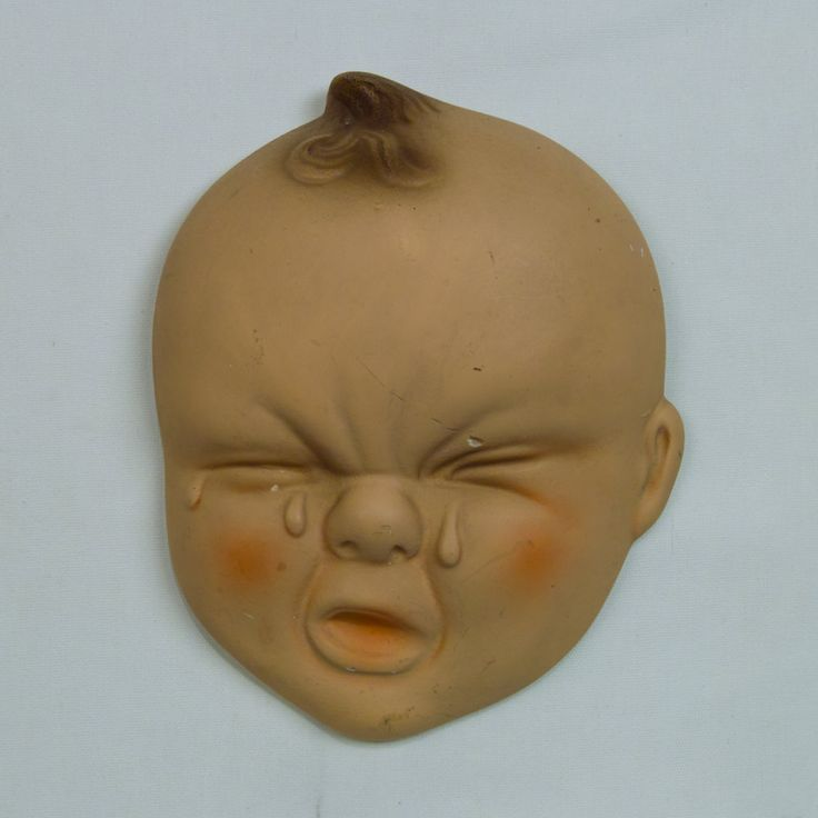 Vintage Chalkware Crying Baby Face By Ephemerascenti On
