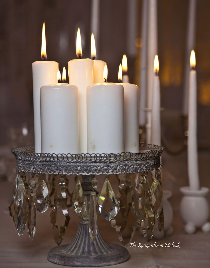 Pretty way to display candles ... A cake plate