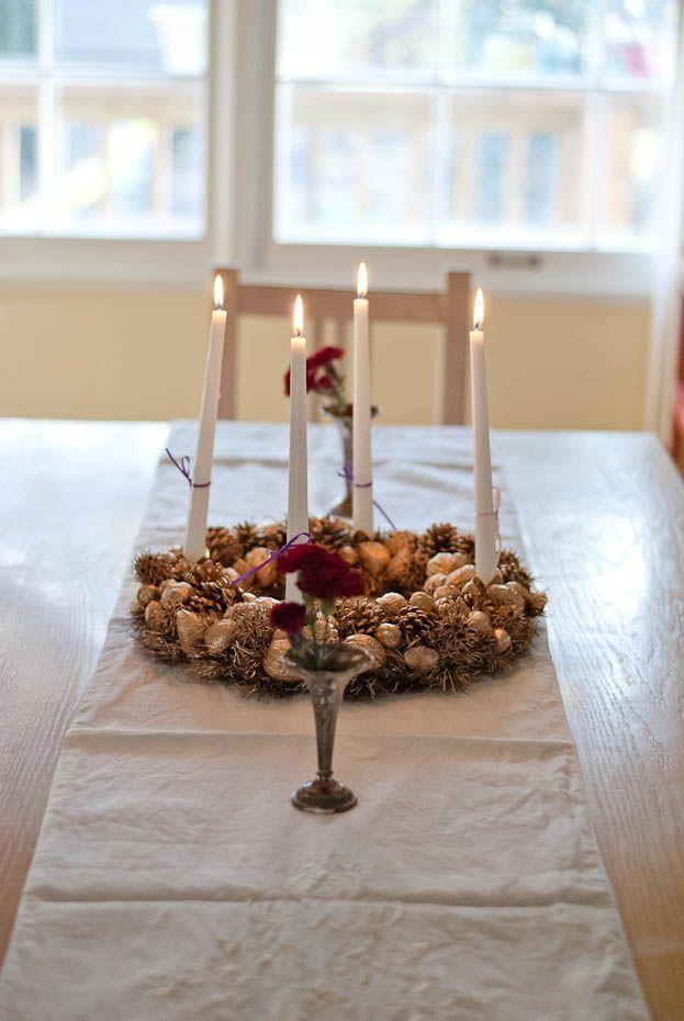 gold nature advent wreath diy
