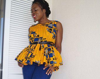 Top peplum de Ankara, african top, top, blusa, vestido con estampado africano, peplum, peplum, se reunieron tapa de impresión