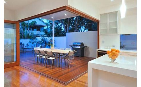 Open Bi Fold Doors Round Corner Frame Brings The Outside