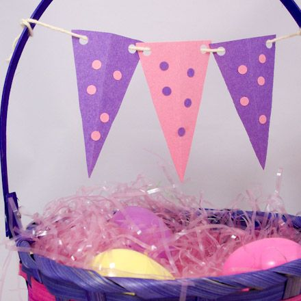 Hang pennant flags from Easter basket handle