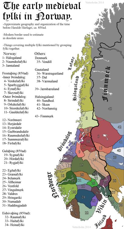 """The Viking-age Fylki (Petty kingdoms) in Norway before the unification.  by jkvatterholm:   Important! This is the """"de jure"""" regions so to say. A petty king might have power in 2 or 3 of them, or they might be divided in various ways. The fylki are mostly a kind of administrative grouping, and they survived into the time of medieval Norway and beyond. The fylki had in the beginning mostly a þing each, but some went for further cooperation made bigger multi-fylki þings"""