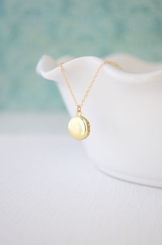 Tiny Round Locket  simple locket gold necklace  by OliveYewJewels