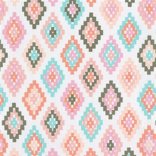 Pastel Tribal Fabric by Carousel Designs.  Reminiscent of the southwest this sweet pastel tribal pattern features beautiful shades of blush pink, corals and soft turquoise. Perfect for creating your own unique nursery.