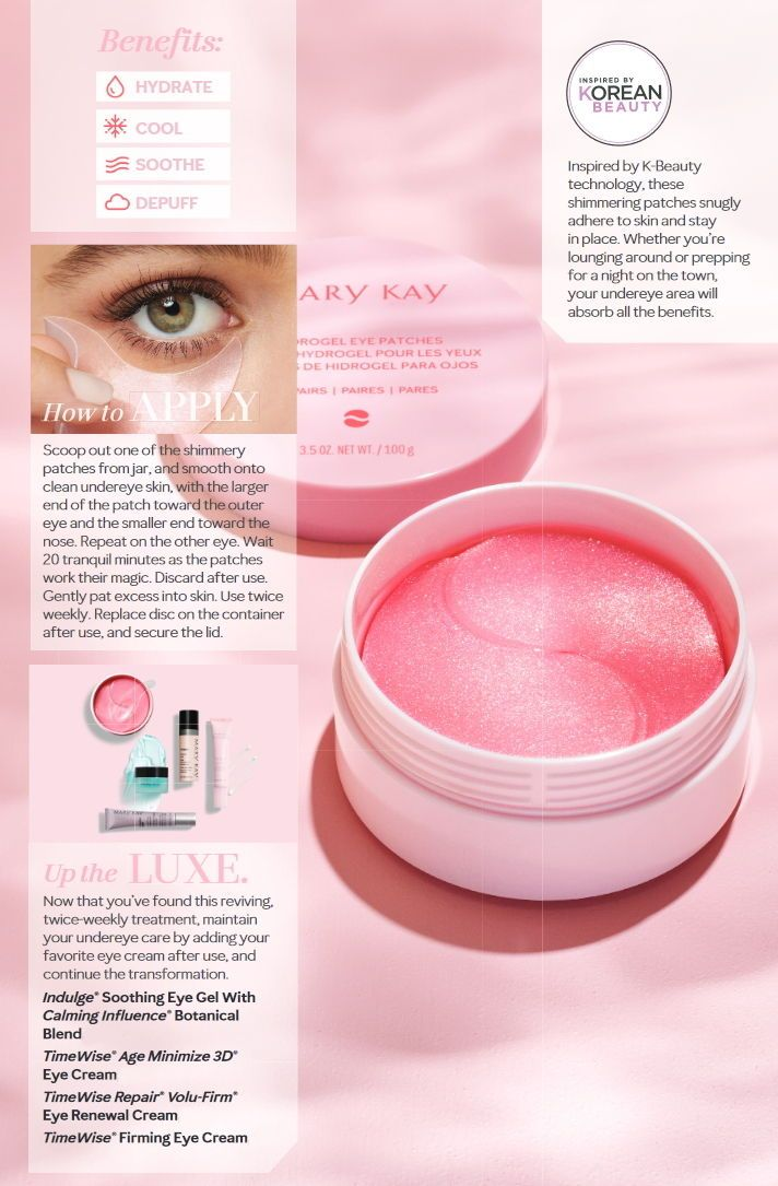 "It's time for an eye awakening. Instantly reviving, shimmery pink gels  deliver a refreshing burst of hydration to tired eyes. You'll see  benefits by using these for just 20 minutes, twice a week, making ""me""  time a lot easier to find."