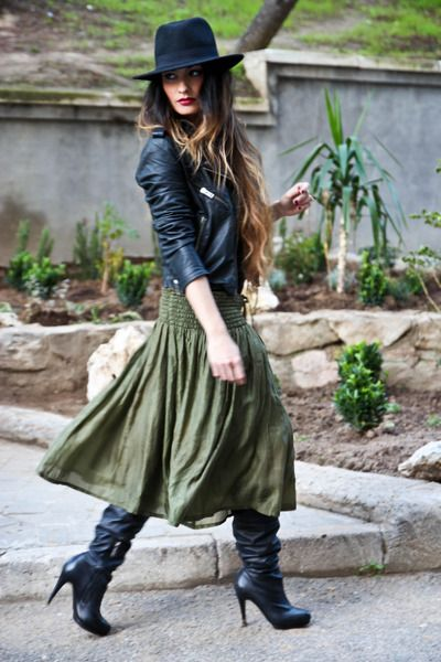 Wish list items: Long skirt with boots.Cute but I wouldn't wear the hat.