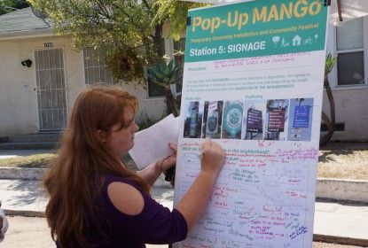 Pop-up MANGo Santa Monica, California held a one day event to help plan improvements using temporary installations along sidewalks and streets.