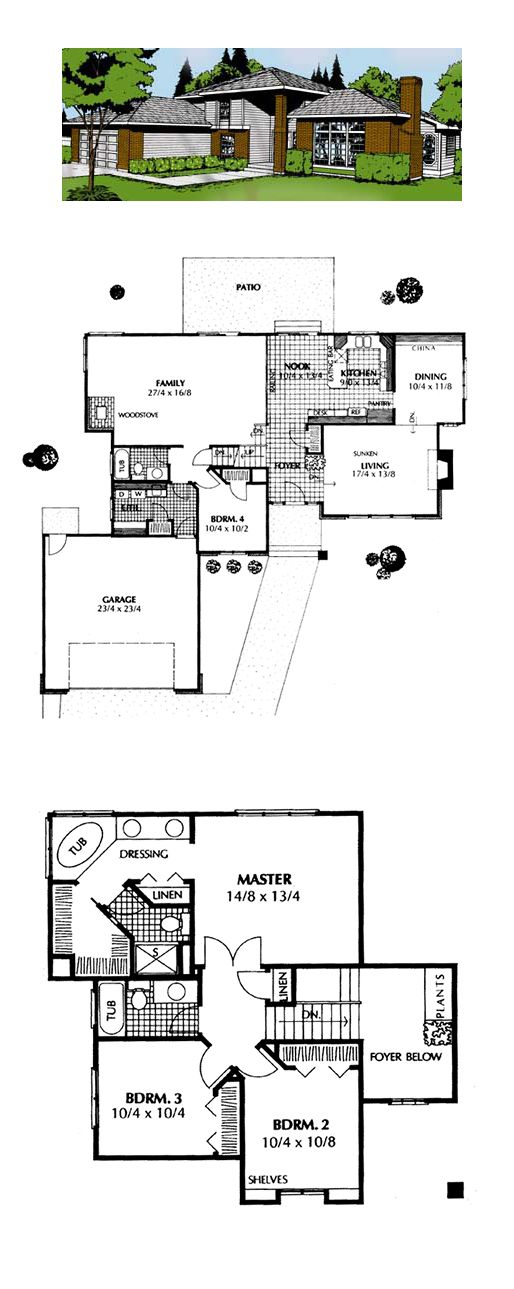 Contemporary prairie style southwest house plan 91674 for Southwest home floor plans