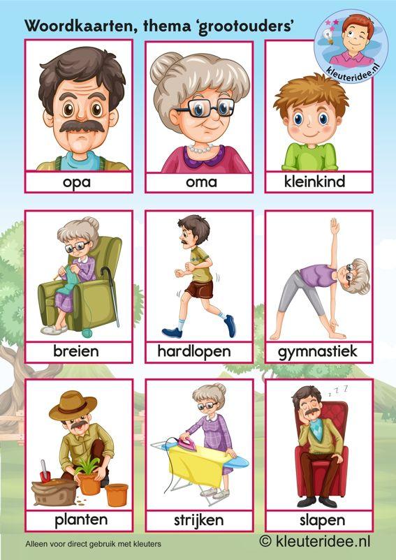 Woordkaarten voor kleuters, opa en oma, kleuteridee.nl, kinderboekenweek 2016, thema grootouders, free printable.