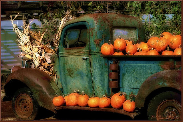 autumn decor for an old pickup @AmyJanzen this is for your mom :)