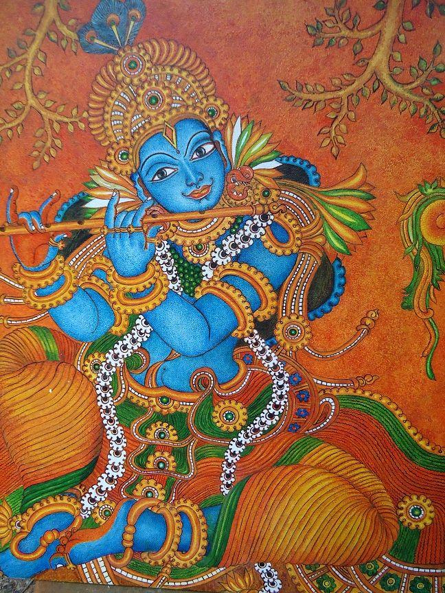 Krishna mural painting krishna kerala murals for Mural radha krishna