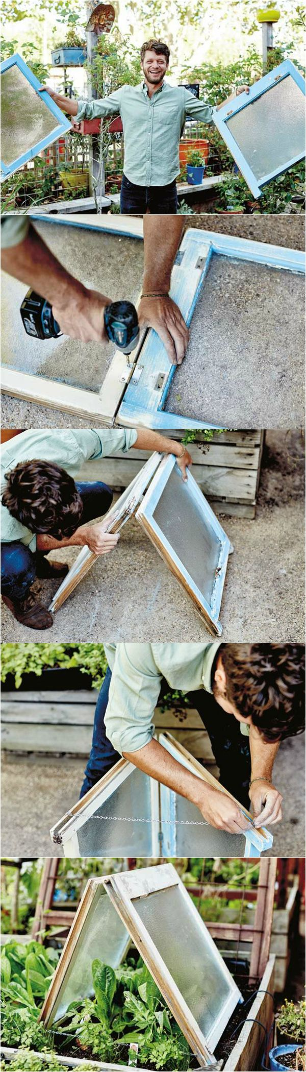 This upcycled DIY greenhouse project made from old windows is an excellent way to avoid frost damage or help seedlings along